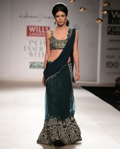 Green gold sequence jaal lehnga saree with chiffon palla and gold sequence bustier