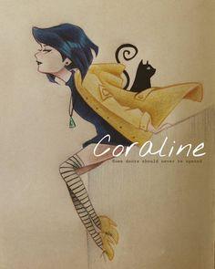 "Some doors should never be opened. Teenage Coraline 🐱💛 - Vou tentar desenhar todos aqueles que coloquei no ""mystery kids club"" juma… Coraline Drawing, Coraline Movie, Coraline Jones, Coraline Tattoo, Tim Burton Art, Tim Burton Films, Disney Vintage, Coraline And Wybie, Art Sketches"