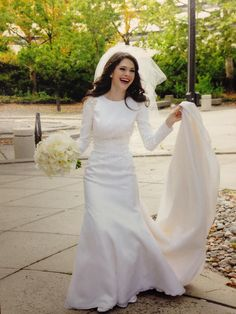 Modest Wedding Dress with Sleeve from CoutureDeBride.com