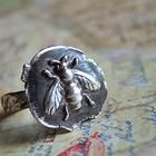 Honey Bee Jewelry, Vintage Wax Seal Stamped Ring, in Fine Silver