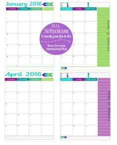 Sample months of Sparkles Yearly Calendar 2016 @ Tina's Dynamic Homeschool Plus