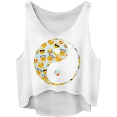 White Ladies Loose Emoji Printed Crop Top ($6.84) ❤ liked on Polyvore featuring tops, shirts, crop top, tank tops, white crop top, loose fitting crop tops, loose white top, crop shirts and white crop shirt