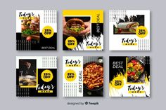 Food social media banner Vectors, Photos and PSD files Instagram Feed Layout, Instagram Post Template, Instagram Design, Free Instagram, Instagram Posts, Social Media Banner, Social Media Design, Adobe Illustrator, Food Template