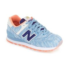 New Balance '574' Sneaker ($80) ❤ liked on Polyvore featuring shoes, sneakers, cornflower, suede shoes, suede leather shoes, new balance, laced sneakers and retro shoes