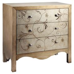 Shannon 3 Drawer Chest in Gold & Silver