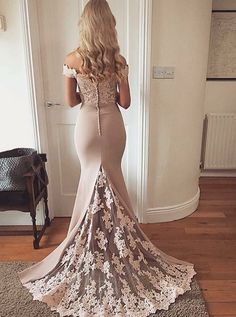 Elegant Mermaid Off the Shoulder Elastic Satin Brush Long Prom Dresses with Applique, Long Evening Dresses ( except will be purple or blue) Prom Dresses 2018, Prom Dresses With Sleeves, Mermaid Prom Dresses, Ball Dresses, Evening Dresses, Dress Prom, Blush Evening Gown, Lace Prom Gown, Mermaid Evening Gown