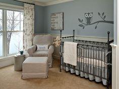 Baby Nursery Room with Owl Wall Mural