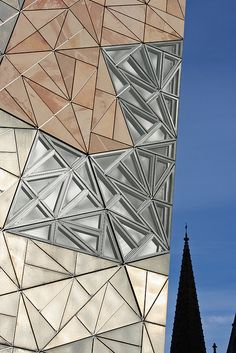 Federation Square in Melbourne, Australia by Don Bates and Peter Davidson of Lab Architecture Studio Australian Architecture, Gothic Architecture, Amazing Architecture, Architecture Details, Interior Architecture, Folding Architecture, Building Facade, Building Design, Ouvrages D'art