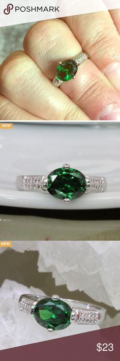 Italian Origin Green Stone Platinum Plated Ring Certified 3X Platinum plated. Genuine 5AAAAA level Italian origin stone inlay with over 20 pure white stones to compliment beauty of main stone . Rich, Sophisticated, Fashionable and absolutely outstanding quality ring. Designed to perfection. Jewelry Rings