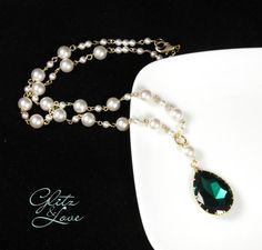 Emerald Teardrop Crystal Pearl Beaded Necklace, Bridal Jewelry, Wedding, Swarovski, Pearl Necklace,  www.glitzandlove.com, by GlitzAndLove, $87.00