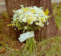 Bridal bouquet - camomile and wild flowers. Created by Studio Dada