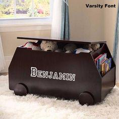 Personalized Modern Essentials Toy Box with Book Storage - Espresso