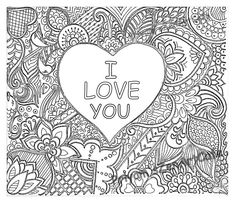 i love you art love zentangle adult coloring page detailed pattern handmade