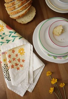flowery dishtowel