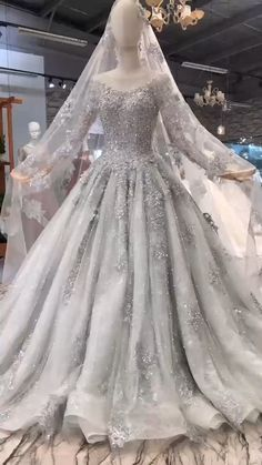 Luxury Grey Long Sleeve crystal beaded Wedding Gown with Court Train Dear valuable customer ,our wedding dresses are handmade instead of mass-produced,the fabric used is excellent,so please. Beaded Wedding Gowns, Bridal Gowns, Muslim Wedding Gown, Groom Wedding Dress, Wedding Dress Cake, Wedding Gowns With Sleeves, Luxury Wedding Dress, Dream Wedding Dresses, Colored Wedding Dresses