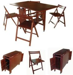 VIFAH V62 Indoor Antique Hideaway Table And Chairs, One folding table and four folding chairs, FSC High Density Eucalyptus (Shorea) is pre-treated, expertly kiln-dried, extremely durable for outdoor/indoor use, FSC High Density Eucalyptus (Shorea) is mold, mildew, fungi, termites, rot and decay resistant, UPC 8935083201407 (V-62 V 62 VIFAH-62)