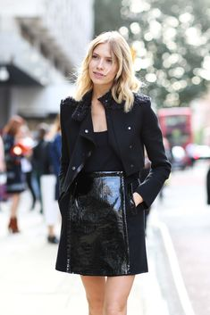 The Most Inspiring Street Style Snaps From London Fashion Week #refinery29  http://www.refinery29.com/london-fashion-week-2014-street-style-photos#slide53  How can just black look this brilliant? When you're Elena Perminova it's probably not that hard.