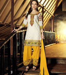 Buy White embroidered cotton unstitched salwar with dupatta patiala-salwar online
