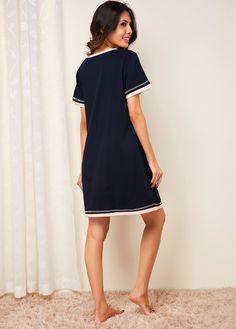 Short Sleeve Navy Blue Loungewear Dress black body suit bodysuit #leggingslimming Casual Work Dresses, Dresses For Work, Plus Size Camisoles, Knitting Daily, Panel Dress, Online Shopping For Women, Mesh Dress, Spaghetti Strap Dresses, Black Bodysuit