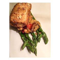 Roasted Veg Couscous, Poached Asparagus and Cod