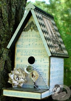 altered birdhouse by Nicole Eccles, using Graphic 45 paper. scrapbook, paper arts, craft