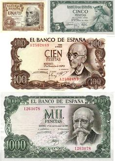 Spanish printed currency in the Pesetas.