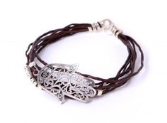 Amazon.com: Handmade Leather Wrap Bracelet with Sterling Silver Hamsa Charm Ð Metallic Brown Leather Color: Sivan Kohen: Jewelry