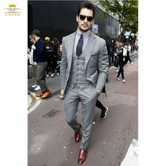 Mens Suits Slim Fit Tuxedos Custom Gray Business With Pants  White Wedding Dress Suit Blue Tuxedo 3 Piece XL601 Givenschy