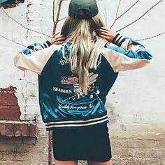 Unisex Men Women Embroidery Animal Satin Reversibe Baseball Bomber Jacket Coat