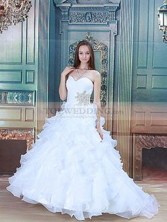 Sweetheart Beaded Satin and Organza Wedding Dress with Ruffled Skirt