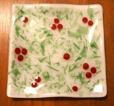 "Fused Glass Holly Plate--5"" square"