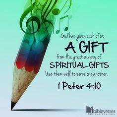 "1 Peter - ""God has given each of us a gift from His great variety of spiritual gifts. Use them well to serve one another. Scripture Verses, Bible Scriptures, Bible Quotes, Qoutes, Jesus Bible, Spiritual Gifts, Spiritual Quotes, 1 Peter 4, Serving Others"