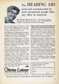"Vintage Otarion Hearing Aid Ad, ""The Listener Hearing Aid, Christmas 1957 Featuring Eleanor Roosevelt."