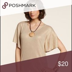 NWT Chico's Gold Shimmer Khaki Top Linen blend, fly-away sleeves. Chico's Tops Tunics