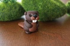 Polymer Clay Beaver - Miniature Beaver - Mini Clay Beaver - Fairy Garden Accessory - Terrarium Accessory – Garden Decoration - Animal