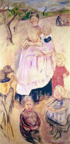 The Athenaeum - Mother With Children, Thüuingen (1906) (Edvard Munch - )