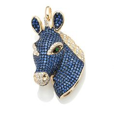 Rarities 18K Gold 6.20ct Diamond & Gem Horse Pendant