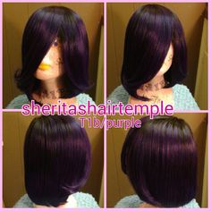 T1b/purple feathered bob Brazilian remy virgin human hair custom color wig. This pic is the final cut pic.  Cust wanted wig cut in short bob with feathered layers. First pics before cut down. cust loves her wig! #sheritashairtemple #customwigs #custommade #customcolor #customcolors #handmadewig #handmade #purplewig #purplehair #humanhair #afrowigs #afro #protectivestyles #naturalhair #fullwigs #iamhealedfoundation #JesusIsLord