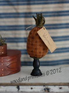 Welcome Pineapple Pinkeep on candlestick digital pattern.for pinkeeps and ornaments Fruit Crafts, Pineapple Pattern, Needle Book, Primitive Crafts, Country Primitive, Wool Applique, Digital Pattern, Sewing Crafts, Sewing Kits