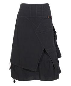 4b6d35b7cdf Coline Black Tassel-Accent Layered Midi Skirt - Plus Too