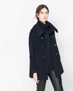 Image 2 of FUNNEL COLLAR COAT from Zara