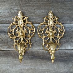 Vintage Metal Gold Ornate Sconces by TheCherryAttic on Etsy