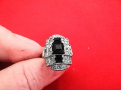 Vintage size 55 art deco silver ring with rhinestones by jeanmc, $20.00