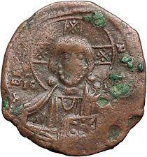 JESUS CHRIST Class B Anonymous Ancient 1028AD Byzantine Follis Coin CROSS i55760