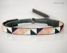 Dreiecke, Perlen Schmuck, eleganten Schmuck, Armband, Miyuki-Perlen, Naturleder, geometrische Muster, Geschenk, schwarz, weiß, Gold, Pink