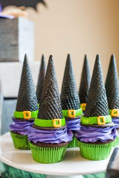 Schur to Please created the Witches' Hat Cupcakes for one Halloween bash, but you could easily make your own!
