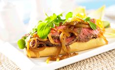 This delicious lean beef sandwich recipe is an excellent source of zinc and iron. Serve the Grilled Beef Steak Sandwich with Melted Onions open faced if desired. Marinated Steak, Grilled Beef, How To Grill Steak, Beef Steak, Pork, Onion Recipes, Beef Recipes, Fondue, Gourmet Recipes