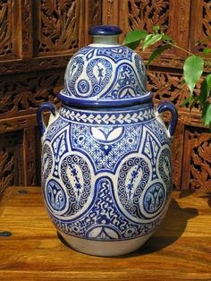 Fez antiqued Tagina pot in blue Moroccan Lamp, Soft Furnishings, Lanterns, Perfume Bottles, Christmas Gifts, Pottery, Vase, Antiques, Stuff To Buy