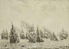 De zeeslag bij Livorno, Willem van de Velde (I), ca. 1659 - ca. 1699