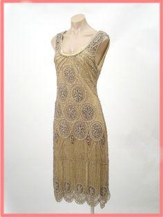 "$245.00 1920's Reproduction Gold Beaded ""Sheba"" Flapper Dress"